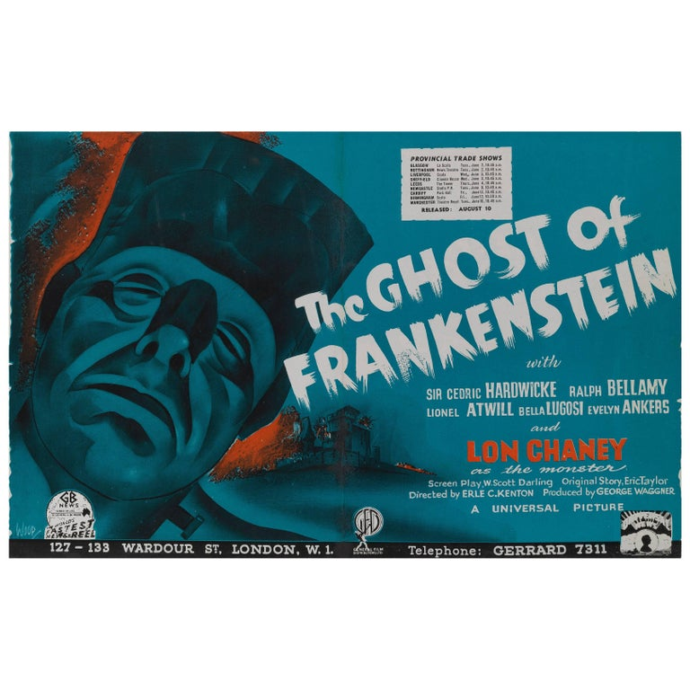 """The Ghost of Frankenstein"" Original British Trade Advertisement"