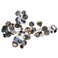 "Curtis Jere ""Raindrop"" Chrome Wall Sculpture for Artisan House"