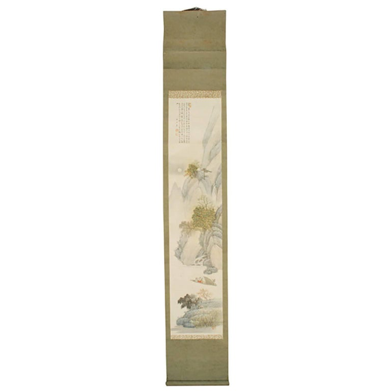 """Springtime on the River"" Meiji Period Scroll Painting"