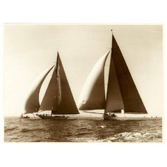 Yacht Candida and Yankee, Early Silver Gelatin Photographic Print