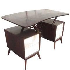 Vintage Ebonized Italian Goatskin Parchment Desk