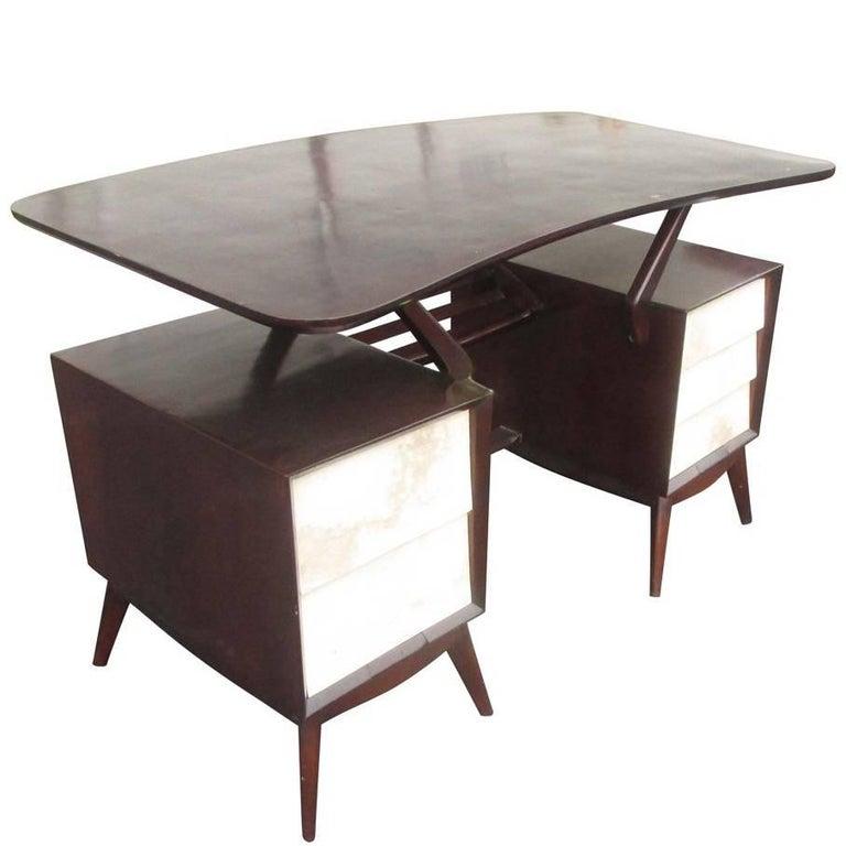 Vintage Ebonized Italian Goatskin Parchment Desk For Sale