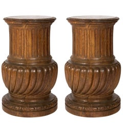 Pair of 18th Century Carved Italian Oak Pedestals