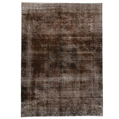 Distressed Antique Persian Overdyed Rug with Modern Rustic Industrial Style