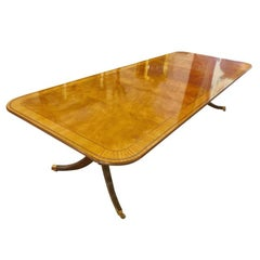 Baker Dining Table Double Pedestal Walnut Inlaid Table with Extensions