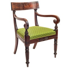 19th Century English Regency Gillows Mahogany Desk Chair in Green Horsehair