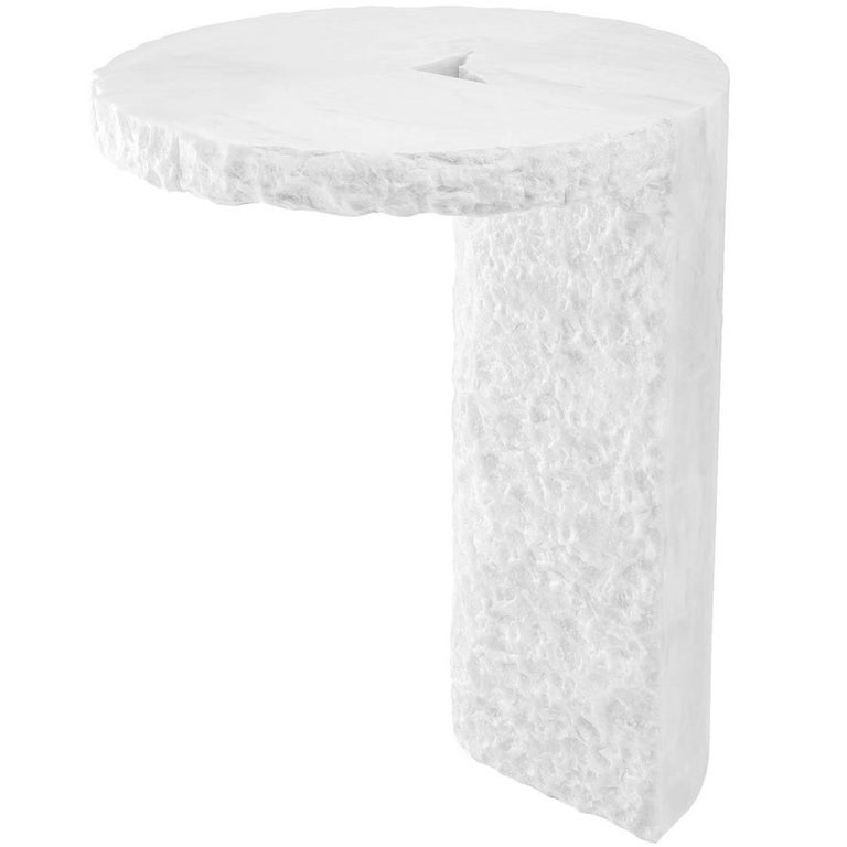White Marble Side Table, S.R.O Collection For Sale