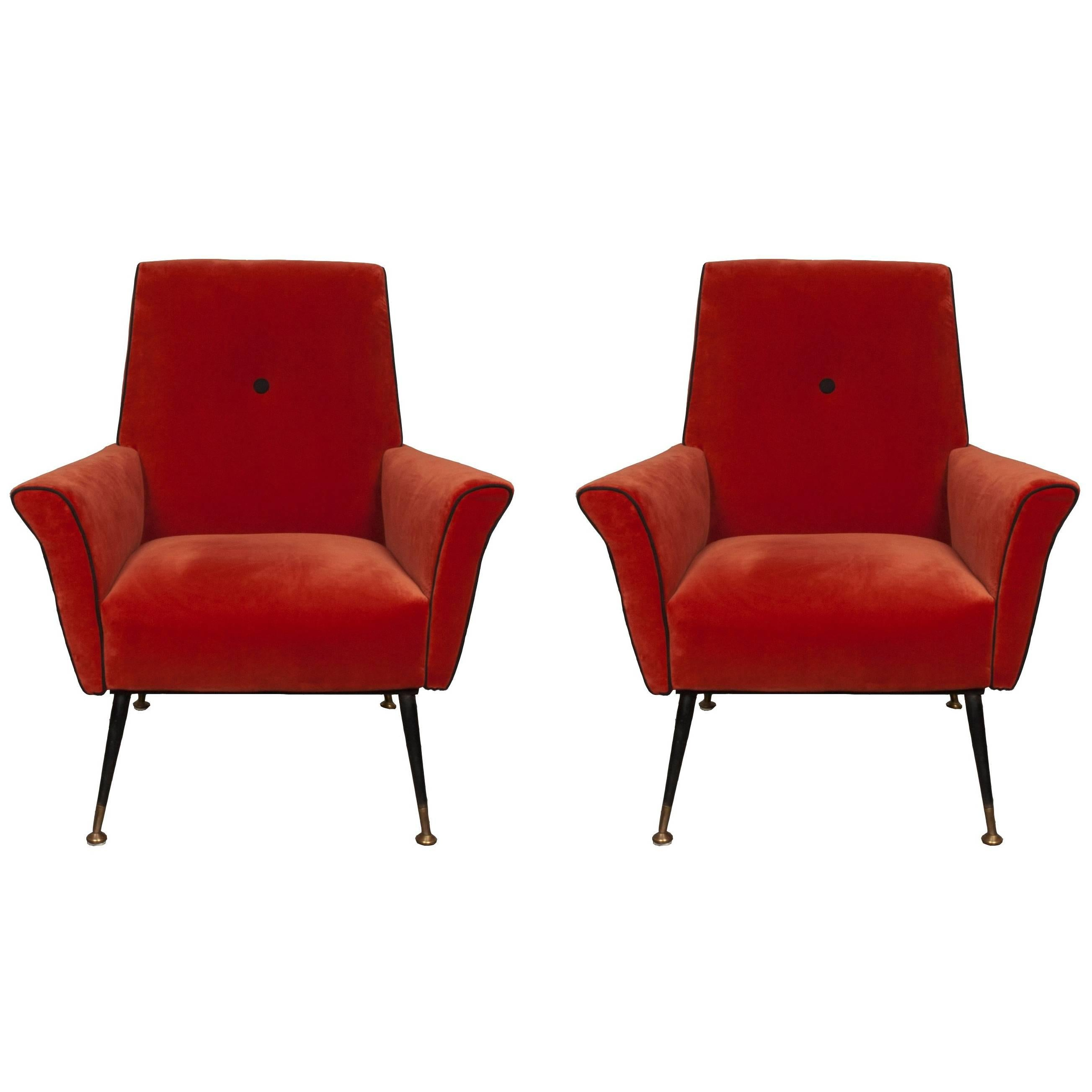 Delightful Pair Of 1940s Red Italian Armchairs For Sale