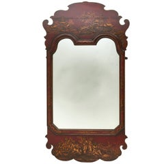 Queen Anne Style Chinoiserie Red Lacquered Mirror, circa 1850
