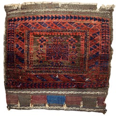 Handmade Antique Collectible Afghan Baluch Bag Face, 1880s