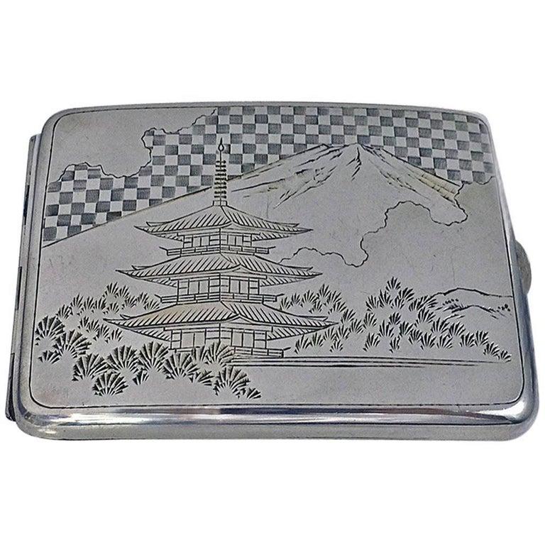 Fine Japanese 950 Silver Box Case, circa 1920 For Sale