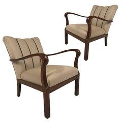 Danish Modern Mahogany Open Armchairs
