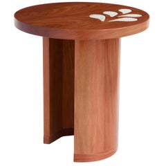 Cabreuva Wood and Handcrafted Ceramic Encontros Side Table by Brazilian Yankatu
