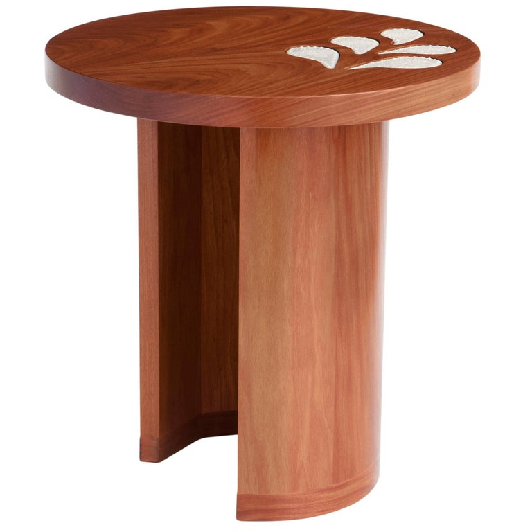 Encontros Side Table in Cabreuva wood and Ceramic For Sale