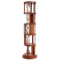 Cabreuva Wood and Ceramic Beads Contas Swivel Bookcase by Brazilian Yankatu