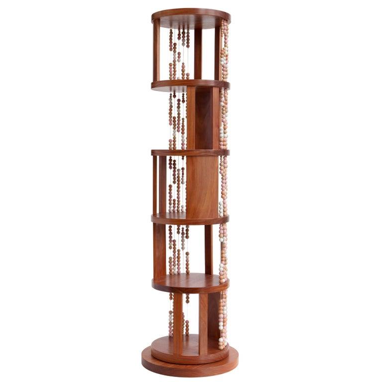 """Contas"" Round Swivel Bookcase in Cabreuva Hardwood For Sale"