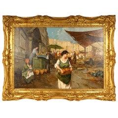 Gilt-Framed Market Scene Oil on Canvas