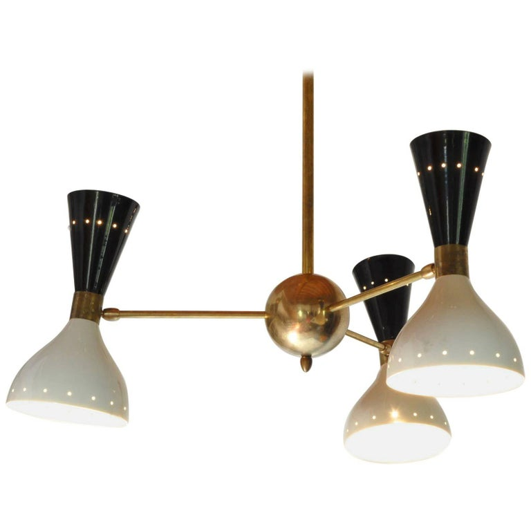 Chandelier, Black Ivory Pivoting Shades, Twin Bulb, Patina Brass, Stilnovo Style For Sale