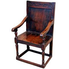 Antique 17th Century Oak Wainscott Chair