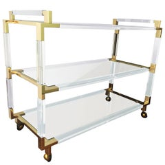 "Charles Hollis Jones Lucite and Brass Bar Cart from the ""Metric"" Collection"