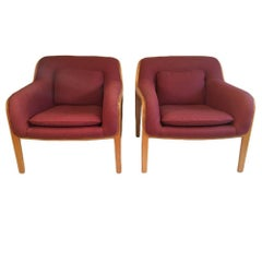 Pair of Oak Lounge Chairs by Bill Stephens for Knoll