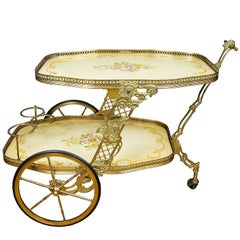 Vintage French Provence Style Brass and Wood Bar Cart, Trolley, Serving Cart