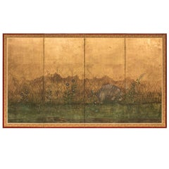 Japanese Four-Panel Screen, Plains of Musashino with Moon on Gold