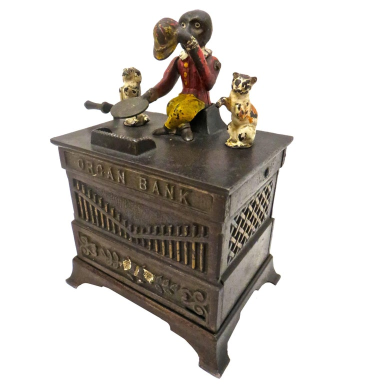 """Organ Bank"" with Cat and Dog, circa 1882, American"