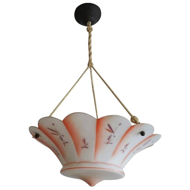 Midcentury Opaline Glass Hand-Painted Chandelier, Lantern