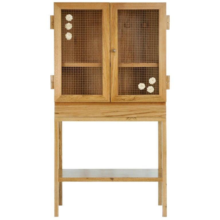 Wood Jardim Cabinet with Natural Dyed Crochet by Brazilian Yankatu (solid wood)