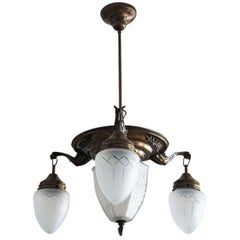 Mid-Century Brass Four-Light Chandelier Pendant with Cut Glass Globes