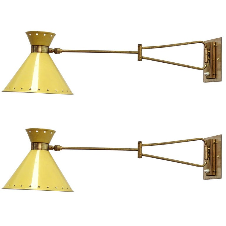 Pair of Swing Arm Sconces by Rene Mathieu for Lunel