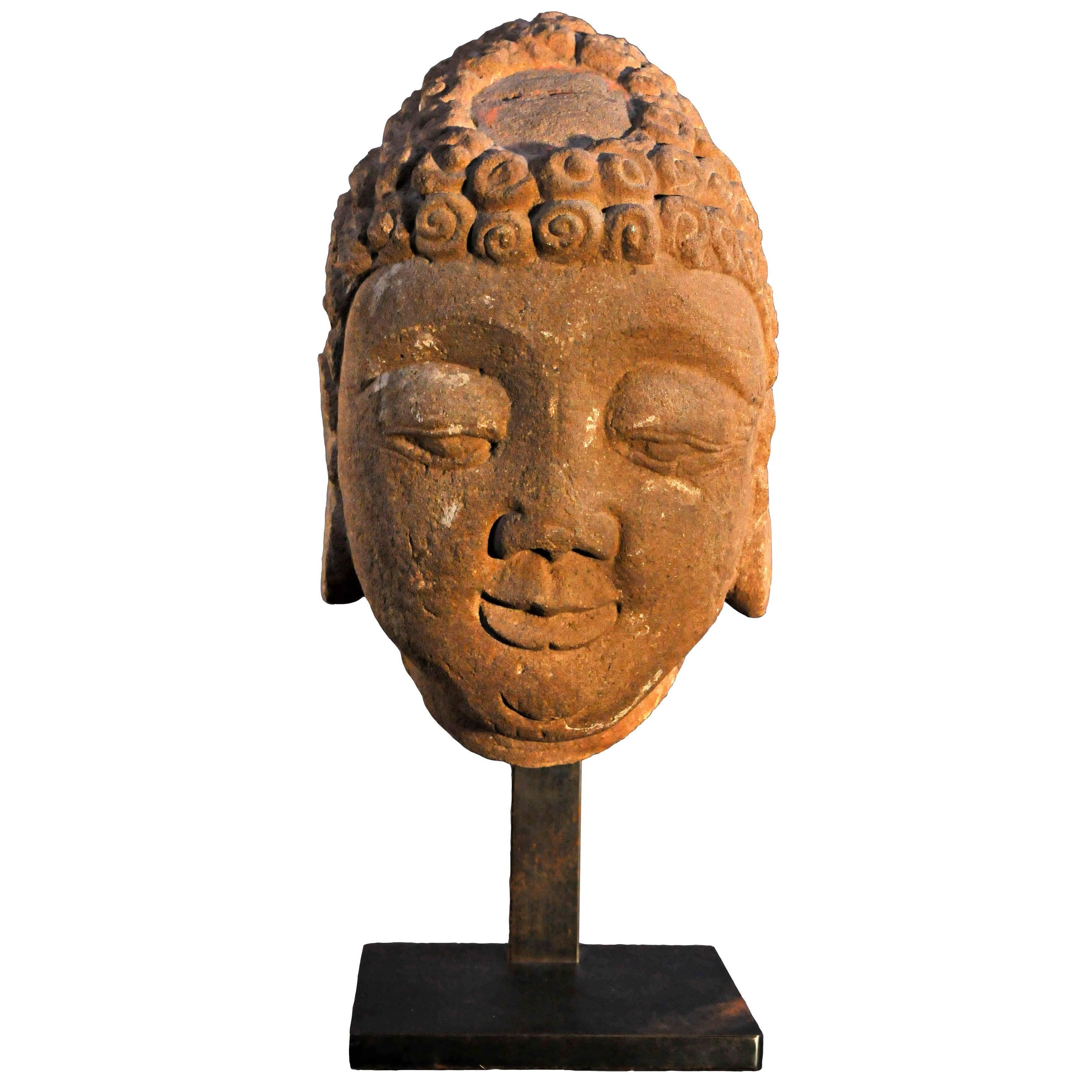 Late 14th Century, Stone Buddha Head, YuanDynasty, Art of China
