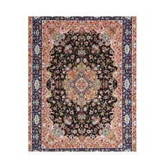 Garden, Hand-Knotted Silk and Wool Genuine Persian Tabriz Rug/Carpet