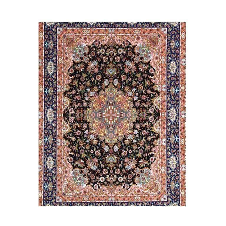 Garden, Hand-Knotted Silk and Wool Genuine Persian Tabriz Rug/Carpet For Sale