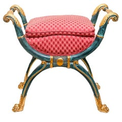 Neoclassical Hand-Carved Giltwood Stool