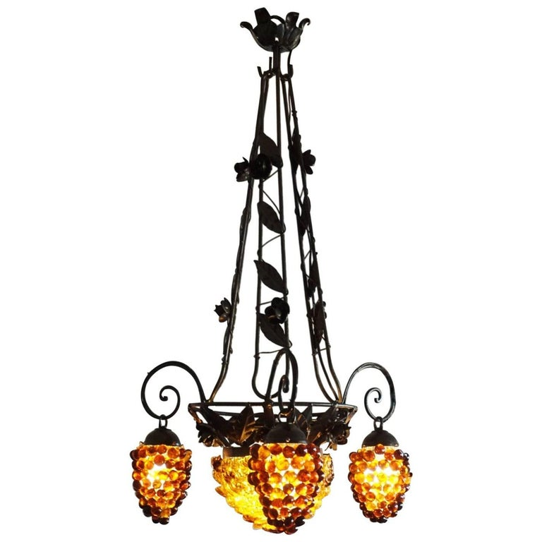 Italian Art Deco Murano Glass Grapes and Flowers Chandelier Pendant