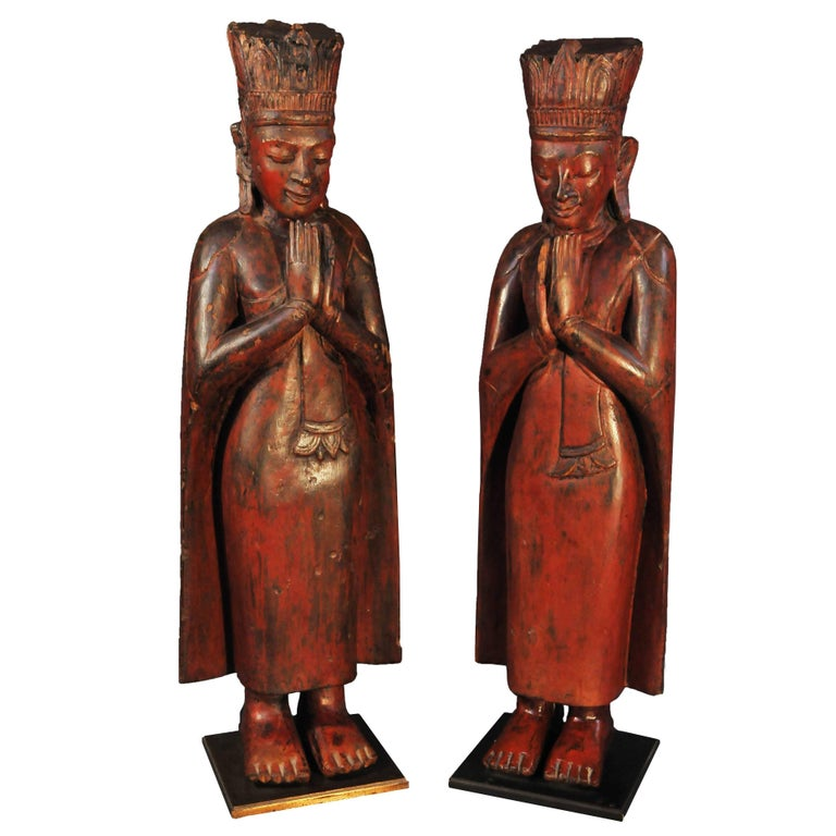 16th Century, Lacquered Wood Standing Monks in Anjali Mudra, Pagan Period, Burma
