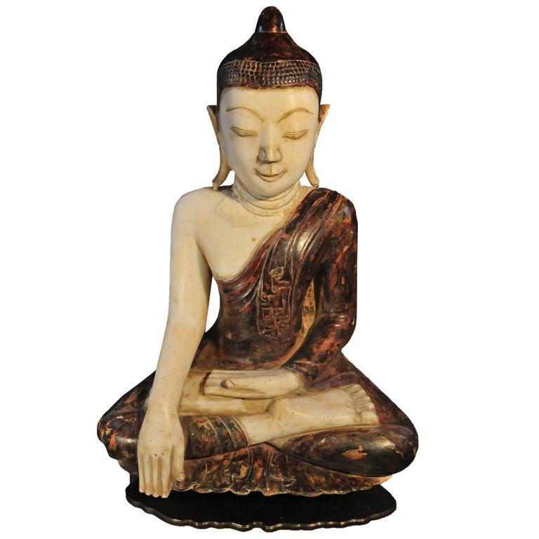 18th Century, Virasana Buddhain Bhumisparsa Mudra, Mandalay Period, Burma For Sale