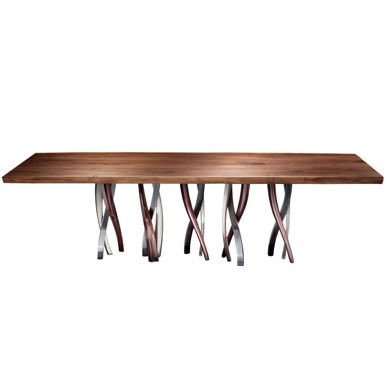 """""""Il Pezzo 8 Table"""" solid walnut top with a sparkling forest of legs"""
