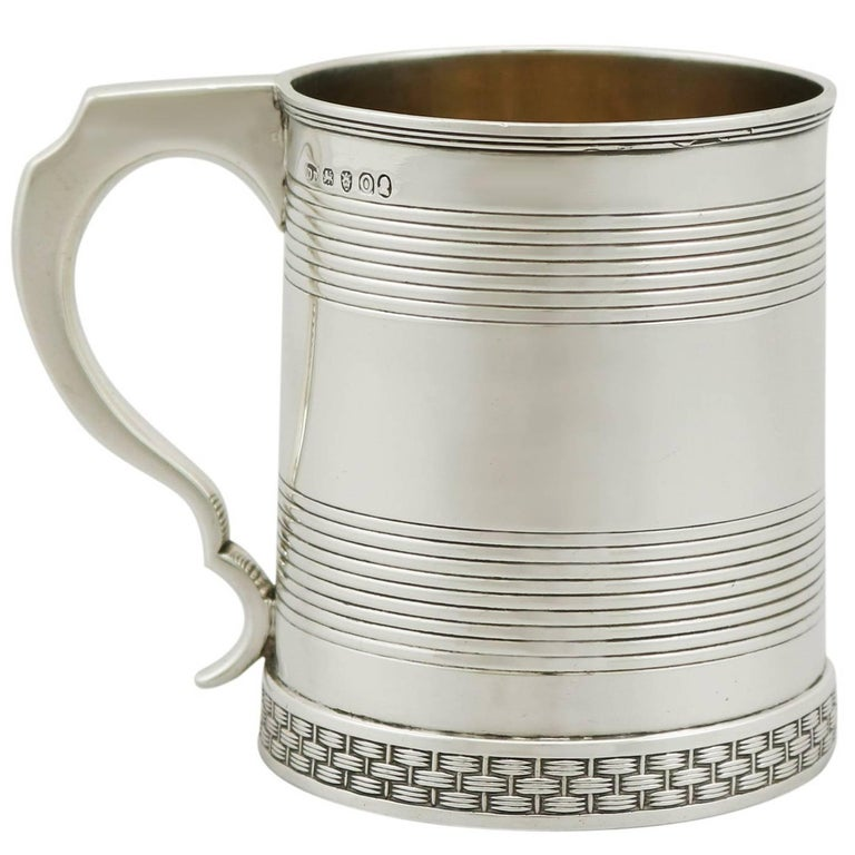 1809 Antique Sterling Silver Christening Mug For Sale