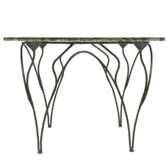 Flower Dining Console Table Iron Patina Surface double Glass Silvered in stock
