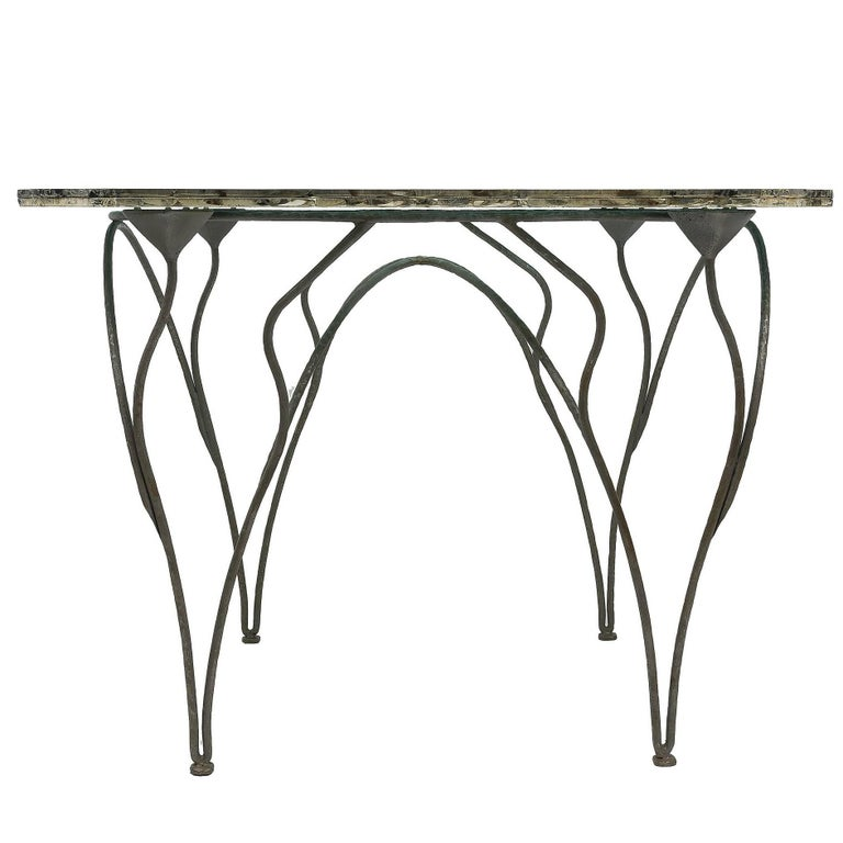 Flower Dining Console Table Iron Patina Surface double Glass Silvered in stock For Sale