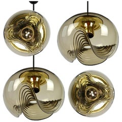 Set of of 4 Koch & Lowy Smoked Glass Lights, 2 Pedant Lights and 2 Wall Lights