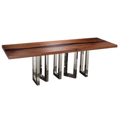 """Il Pezzo 6 Long Table"" dining table in solid walnut with contrast wenge vein"