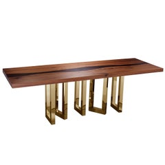 """Il Pezzo 6 Long Table"" dining table made of solid walnut and solid wenge"