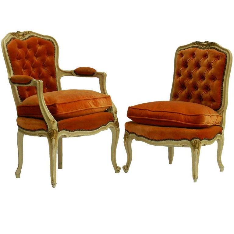 French Armchair and Chair Early 20th Century Louis XV Rev Tufted Button Backs