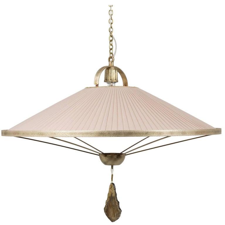 Sunshine Pendant Lamp Chiffon Silk Shade Savanna Color with Silvered Glass Jewel