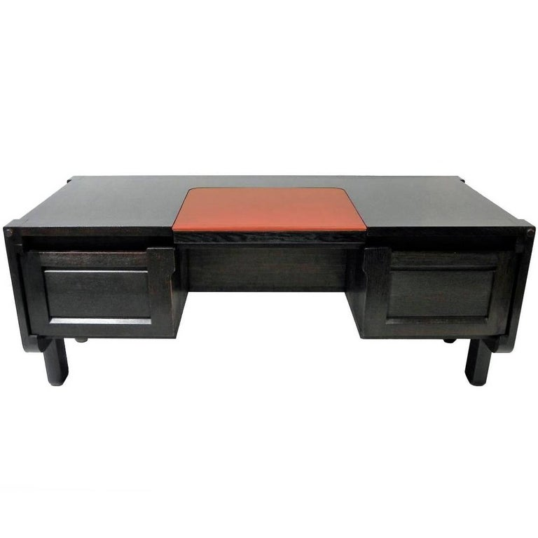 Guillerme et Chambron, Rare and Original Desk in Blackened Oak, circa 1970