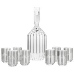 Czech Clear Contemporary Decanter and Eight Liqueur Shot Glass Set, In Stock